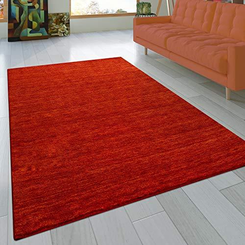 Paco Home Teppich Handgeknotet Gabbeh Hochwertig 100% Wolle Dezent Meliert Terrakotta, Grösse:80x150 cm
