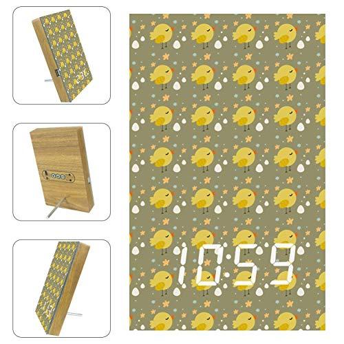 EZIOLY Digitaler Wecker mit singendem Küken, LED-Anzeige, Zeit, Temperatur, Datum, USB-betrieben, Sound-Steuerung, Energieeinsparung für Schlafzimmer und Büro