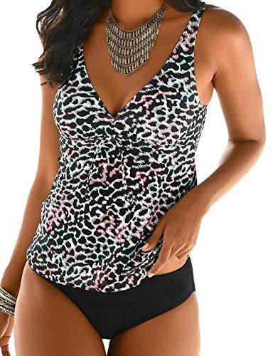 ZAFUAZ Dames Plus Size Bedrukte Halter Tankini Set Hoge Taille Badpak Gewatteerde Tummy Controle Zwemkostuum