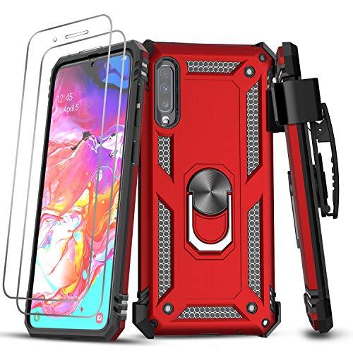 LeYi für Samsung Galaxy A50/A50s/A30s Hülle mit Panzerglas Schutzfolie (2 Stück),Ringhalter Belt Clip Schutzhülle Outdoor Hard Cover Bumper Handy Hüllen für Case Samsung Galaxy A50 Handyhülle Rot