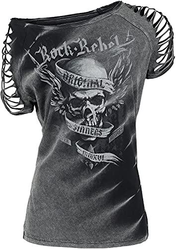 Rock Rebel by EMP All In The Mind Mujer Camiseta Gris S, 100% algodón, Vintage, Cut-Outs Regular