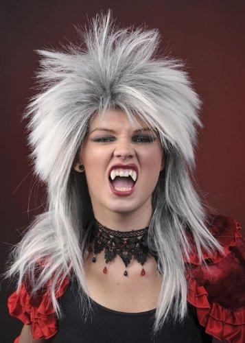 Struts Fancy Dress Perruque Gothique Diva Womens Silver
