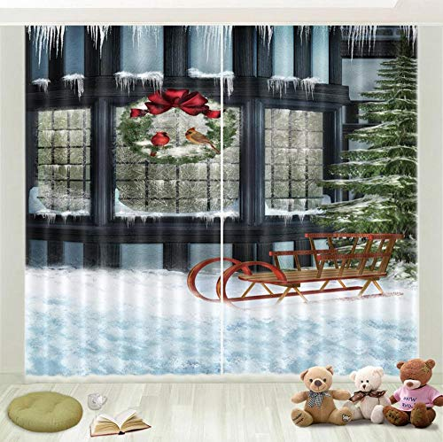 Nonebranded Darkening Energy Saving Window Treatment Curtain Drapes - Snow Sledh245 X W340 Cm