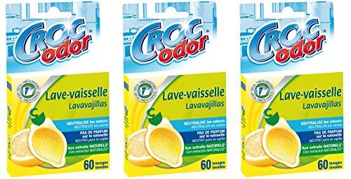 Croc'Odor - Désodorisant lave vaisselle Citron - Lot de 3