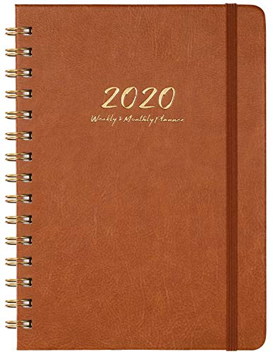 2020 Planner - Weekly, Monthly and Yearly Planner with Monthly Tabs, 6.3' x 8.4', January 2020 - December 2020, Thick Paper, Inner Pocket, Brown