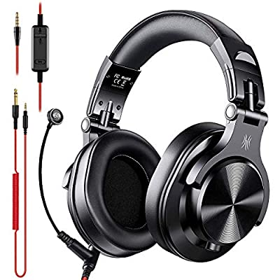 OneOdio A71 Over Ear Headsets with Boom Mic - PS4 Xbox One PC Wired Stereo Headphones with On-Line Volume & Share-Port Headsets for Gaming Office Phone Call DJ