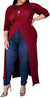 IyMoo Women Plus Size High Low Tops - Half Sleeve Crisscross Wrap Bodycon Tops B
