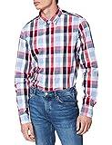 Tommy Hilfiger Slim Check Shirt Camisa, Blanco óptico/Cielo Desierto/Multi, L para Hombre
