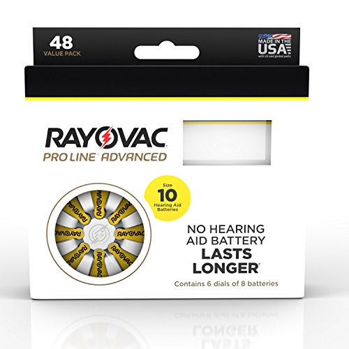 Rayovac Proline Advanced Mercury-Free Hearing Aid Batteries 48/Box Size 10