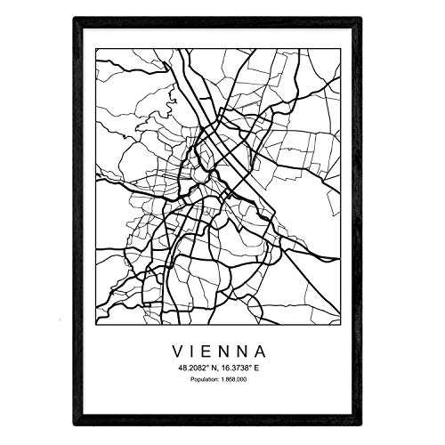 Nacnic Blade Wien Stadtkarte im nordischen Stil schwarz und weiß. A3 Größe Plakat Das Bedruckte Papier Keine 250 gr. Gemälde, Drucke und Poster für Wohnzimmer und Schlafzimmer