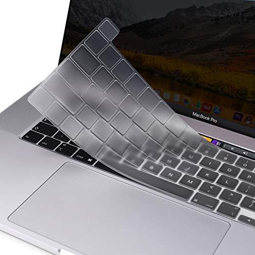 MOSISO Tastaturschutz Kompatibel mit 2020 MacBook Pro 13 Zoll A2338 M1 A2251 A2289 und 2019 MacBook Pro 16 Zoll A2141 mit Touch ID und Retina Bildschirm, Schützende Silikonhaut, Transparent