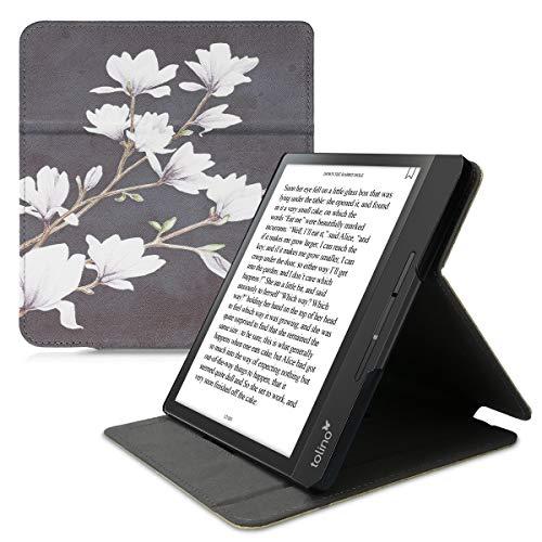 kwmobile Hülle kompatibel mit Tolino Epos 2 - Schlaufe Ständer - e-Reader Schutzhülle - Magnolien Taupe Weiß Dunkelgrau