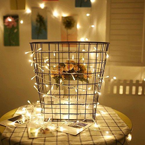 ANKOUJA LED Lichterkette 100er Innen warmweiss fuer Weihnachten Zimmer Bett Hochzeit Party Schlafzimmer Weihnachten Tannenbaum 8 Funktiontyp-Memory-Verlaengerbar…