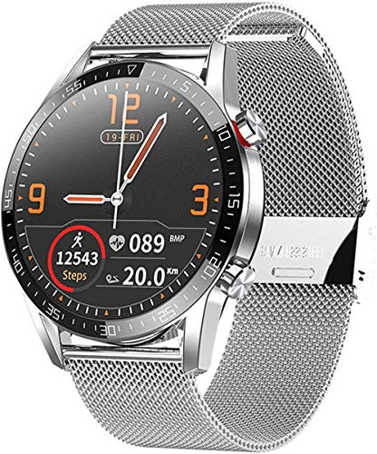Reloj Inteligente Impermeable 1.3 Pantalla Táctil Smartwatch Fitness Tracker Monitor de Ritmo Cardíaco Podómetro Cronómetro Pulsera Negocio para Hombres Mujeres Rojo Plata