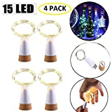 LED Botella Corcho Luces, Alimentado por USB Recargable Alambre De Cobre Cuerda Ligero 1,5M 15 LED Luces De Cadena para Bricolaje Decoración Al Aire Libre Partido Boda Vacaciones (4 Piezas)