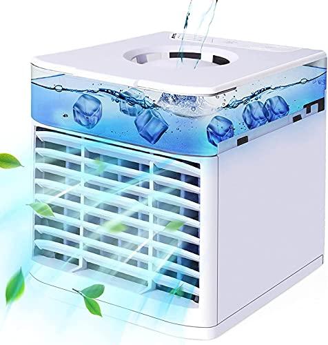 HZIXIXI Ventilatore con Acqua - con Luci A LED A 7 Colori Climatizzatore Piccolo - Protezione Ambientale Condizionatore Portatile Mini, per La Camera da Letto Dell'Ufficio da Viaggio A Casa