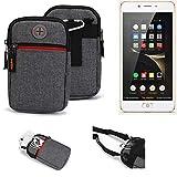 K-S-Trade® Gürtel-Tasche Für Nubia N2 Handy-Tasche Holster Schutz-hülle Grau Zusatzfächer 1x