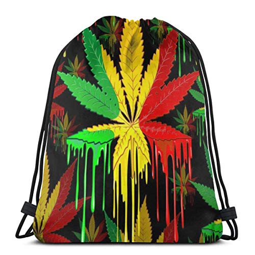 Drawstring Backpack Bags Cannabis Leaf Colors Dripping Lightweight Travel String Storage Sackpack