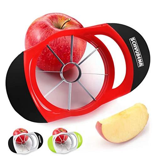 SCHVUBENR 3.5 Inch Apple Slicer - Professional Apple Cutter - Stainless Steel Apple Corer - Super Sharp Apple Slicer and Corer - Apple Corer Tool with 8 Sharp Blades(Red)