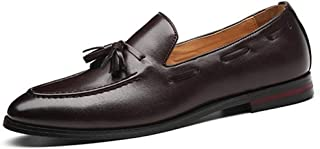 Xiang Ye Fashion Loafers for Men Smoking Slipper Slip-on Tassel Wedding Casual Shoes Solid Color Pointed Toe Non-Slip PU Leather Flat (Color : Brown, Size : 6.5 UK)