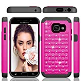 Samsung Galaxy A3 2017 Fall, mqmall Nieten Strass Hard PC Soft Silikon Hybrid, Defender Rugged Slim Schutzhülle für Samsung Galaxy A3 2017 a320fl a320 F/DS 11,9 cm rot hot pink