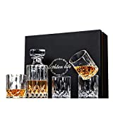 Lighten Life 5-Piece Whiskey Decanter Sets,Crystal Whiskey Decanter with Glass in Unique Box,Bourbon Decanter and Glass Set,Whiskey Decanter Sets for Men,Whiskey Glasses Decanter Set for Scotch,Liquor