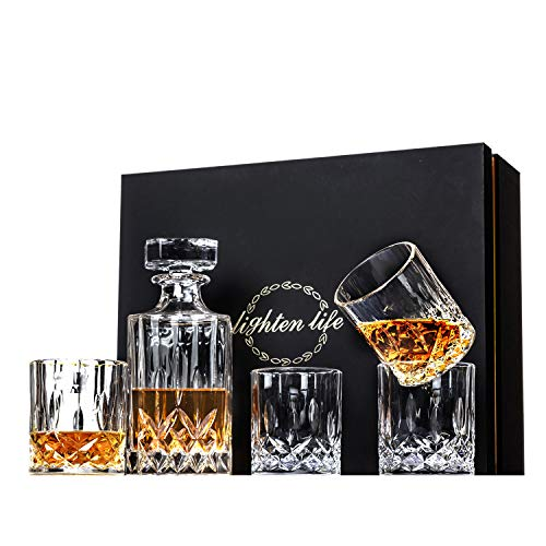 Lighten Life 5-Piece Whiskey Decanter Sets,Crystal Whiskey Decanter with 4 Glasses in Unique Box,Bourbon Decanter Set with Glasses,Whiskey Decanter Sets for Men,Father's Day,Birthday,Anniversary