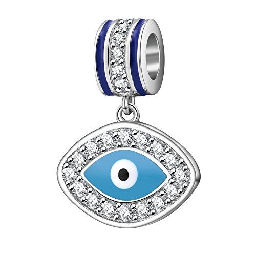 Mal de ojo encantos de plata de ley 925símbolo de Insight Bead Lucky Charm para pulsera Europea (C)