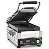 Waring WPG200 Single Commercial Panini Press w/Cast Iron Grooved Plates, 120v