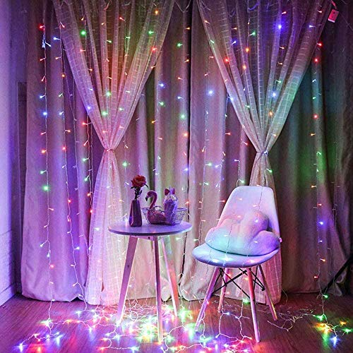 RGB Curtain Light with 8 Modes Control Decoration for Window Home Patio Garden Christmas Indoor Outdoor Decoration, USB Operated, IP64WATERPROOF (9.8ft X 6.5ft) (Multicolor)