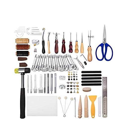 Joyeee 194pcs Herramientas de Coser de Cuero Fuentes de Cuero de Accesorios de Herramientas Kits de Repujado de Cuero Herramientas de perforación para Tallar Costura Sillín Artesanía de Cuero