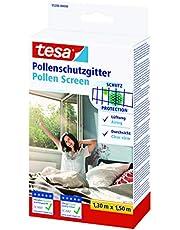 tesa Pollenhor - Transparant pollengaas voor allergieën – Voor naar binnen draaiende ramen - Snijdbaar en incl. zelfklevend klittenband - Antraciet - 130 cm x 150 cm