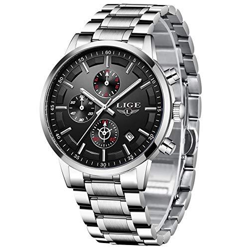 LIGE Relojes para Hombres Deportes Militares Reloj de Negocios de Acero Inoxidable a Prueba de Agua para Hombre con Fecha analógica de Cuarzo Negro Dorado Reloj …