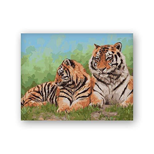 ANpygh DIY Kit de Pintura al óleo por números para Bricolaje,Pinturas para Pintar,Dibujo con Pinceles,decoración navideña,Regalos_Tigre Animal(40x50cm) Sin Marco