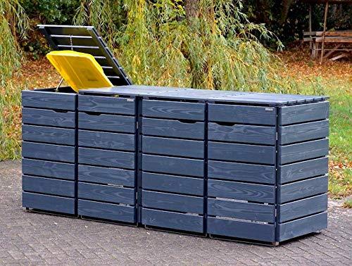 4er Mülltonnenbox / Mülltonnenverkleidung 240 L Holz, Deckend Geölt Anthrazit Grau - 3