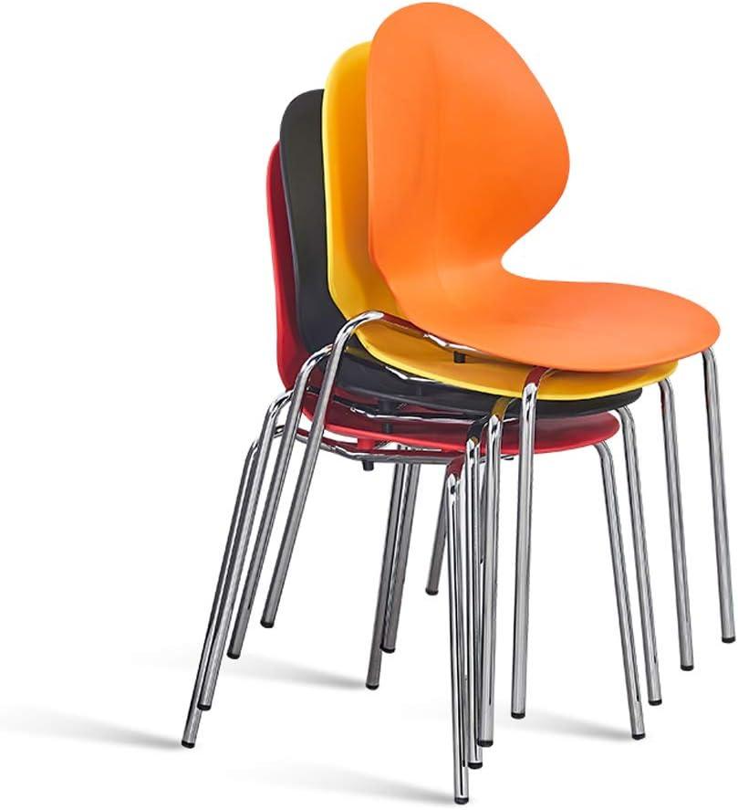 RXBFD chair Chaise de Salle à Manger en Plastique PP Moderne avec Pieds en métal, Courbe de Confort Ergonomique, pour Salon/café/Salon/Salle d'étude/Salle à Manger/pub Orange