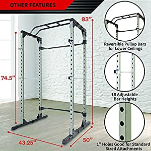 Fitness Reality 810XLT Super Max Power Cage   Optional Lat Pull-down Attachment and Adjustable Leg Hold-down   Power Cage Only
