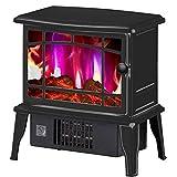 XIANGAI Calefactor Calentador Estufa Eléctrica - Anafe con Estufa de leña Llama Efecto - Chimenea Estufa Calentador Interno -1500W Rojo, Color: Blanco (Color : Black)