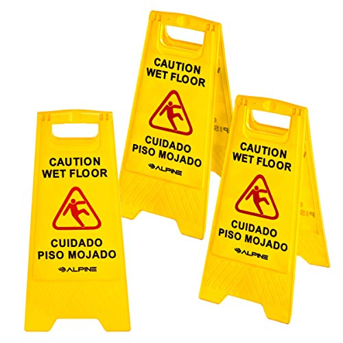 Alpine 24-Inch Caution Wet Floor Sign - 3 Pack A-Frame Bright Yellow Warning Sign - Sturdy Double Sided Fold Out Bilingual Floor Alert Ideal for Commercial Use