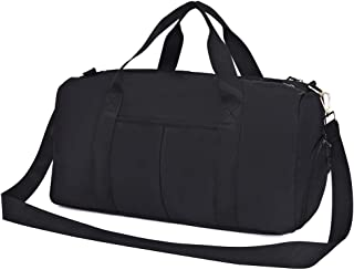 Durable Sports Gym Bag with Wet Pocket & Shoes Compartment, Water Resistant Travel Duffel Bag for Men and Women Black