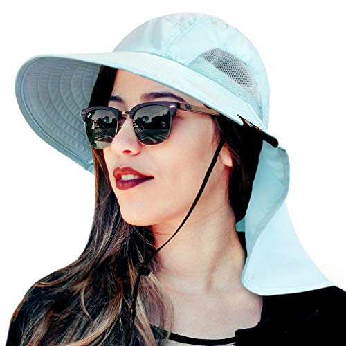 Wide Brim Sun Hat with Neck Flap, UV Protection Hiking Safari Hat for Women Light Blue