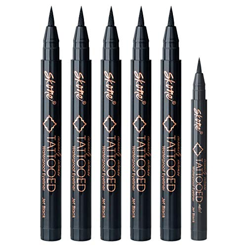 Skone Insanely Intense Tattooed Eyeliner – Smudge Proof, Sweat Proof, 5 PC (Jet Black) with 1 Mini Travel Size