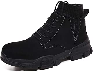 Xujw-shoes store, 2019 Mens New Lace-up Flats Mens Ankle Work Boot High Top for Men Classic Lace Up Style Elastic Socks Collar Suede Upper Round Toe Experienced Stitched Fleece Inside Comfortable