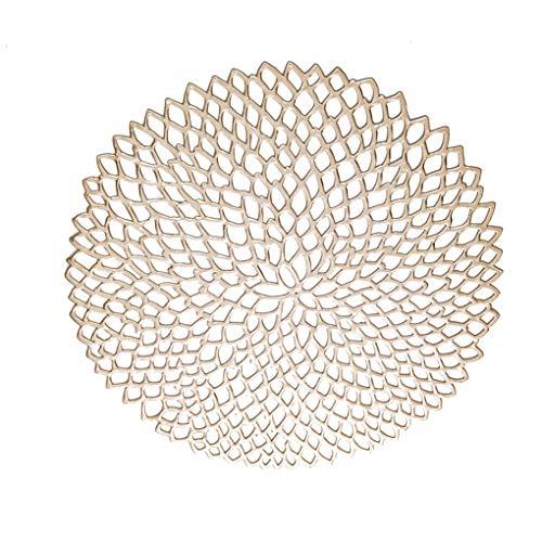 YJS Hollow Coaster Heat Isolatie Tafel Mat Kunststof Tbleware Pad tafel plaats Placemat Antislip Koffie Thee Plaats Mat, Zilver, 39cm(diameter), Champagne Goud