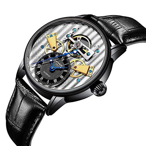 QZPM Hombre Automático Mecánico Relojes Acero Inoxidable Militar Impermeable Multifunción Puntero Luminoso De Moda Cuero Negocio Relojes,Negro