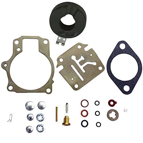 OuyFilters Kit de réparation de carburateur avec flotteur compatible avec de nombreux moteurs hors-bord Johnson Evinrude 18 20 25 28 30 35 40 45 48 50 55 60 65 70 75 HP
