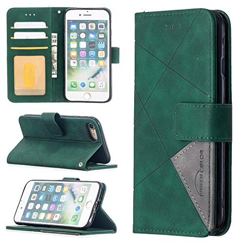 LODROC iPhone 8/7/iPhone SE 2020 Hülle, TPU Lederhülle Magnetische Schutzhülle [Kartenfach] [Standfunktion], Stoßfeste Tasche Kompatibel für Apple iPhone7/iPhone8 - LOBFE0700021 Grün