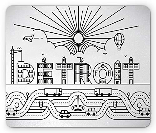 Detroit Mouse Pad Tipografía de Detroit City con Letras de construcción Transporte y Globo aerostático Rectángulo Alfombrilla de Goma Antideslizante Tamaño estándar Negro Blanco