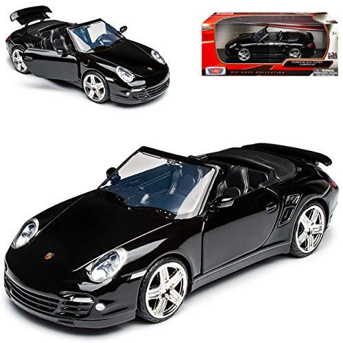 Motormax Porsche 911 997 Turbo Cabrio Schwarz 2004-2011 1/24 Modell Auto mit individiuellem Wunschkennzeichen