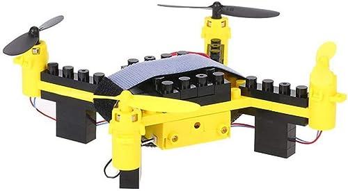 NJYT Kreative Drohne Flugzeuge Quadcopter Educational Puzzle Montage Modell Kinder Fernbedienung Spielzeug Bausteine  elb (Größe   A)